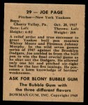 1948 Bowman #29  Joe Page  Back Thumbnail