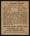 1948 Bowman #9  Walker Cooper  Back Thumbnail