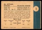 1961 Fleer #1  Al Attles  Back Thumbnail