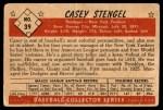 1953 Bowman B&W #39  Casey Stengel  Back Thumbnail