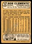 1968 Topps #150  Roberto Clemente  Back Thumbnail