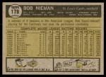 1961 Topps #178  Bob Nieman  Back Thumbnail