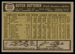 1961 Topps #332  Dutch Dotterer  Back Thumbnail