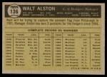 1961 Topps #136  Walter Alston  Back Thumbnail