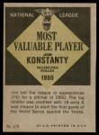 1961 Topps #479   -  Jim Konstanty Most Valuable Player Back Thumbnail