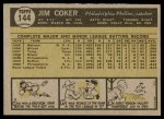 1961 Topps #144  Jim Coker  Back Thumbnail