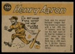 1960 Topps #566   -  Hank Aaron All-Star Back Thumbnail