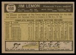 1961 Topps #450  Jim Lemon  Back Thumbnail