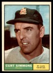 1961 Topps #11 xBRE Curt Simmons  Front Thumbnail