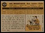 1960 Topps #454  Hal Woodeshick  Back Thumbnail