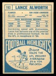 1968 Topps #193  Lance Alworth  Back Thumbnail
