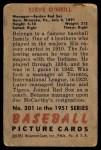 1951 Bowman #201  Steve O'Neill  Back Thumbnail