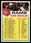 1973 Topps  Checklist   Rams Front Thumbnail