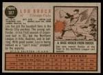 1962 Topps #387  Lou Brock  Back Thumbnail