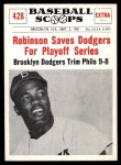 1961 Nu-Card Scoops #428   -   Jackie Robinson  Robinson Saves Dodgers for Playoffs Front Thumbnail