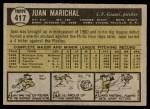1961 Topps #417  Juan Marichal  Back Thumbnail