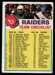 1973 Topps  Checklist   -      Raiders Front Thumbnail