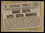1961 Topps #401   -  Babe Ruth Hits 60th Homer Back Thumbnail