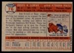 1957 Topps #76  Roberto Clemente  Back Thumbnail