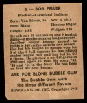 1948 Bowman #5  Bob Feller  Back Thumbnail