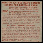 1953 Red Man #11 AL x Eddie Robinson  Back Thumbnail
