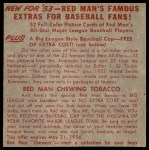 1953 Red Man #8 NL x Sal Maglie  Back Thumbnail