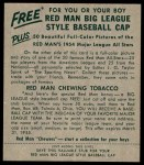 1954 Red Man #14 NL Jim Gilliam  Back Thumbnail