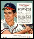 1954 Red Man #8 NL Andy Pafko  Front Thumbnail