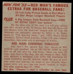1953 Red Man #7 NL x Whitey Lockman  Back Thumbnail