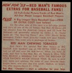 1953 Red Man #12 AL x Gene Woodling  Back Thumbnail