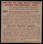 1953 Red Man #5 AL x Nellie Fox  Back Thumbnail