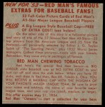 1953 Red Man #23 NL x Warren Hacker  Back Thumbnail