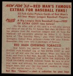 1953 Red Man #16 NL x Hank Sauer  Back Thumbnail
