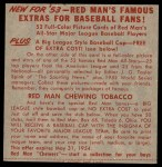 1953 Red Man #20 NL x Wes Westrum  Back Thumbnail
