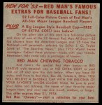 1953 Red Man #20 AL x Bobby Shantz  Back Thumbnail