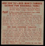 1953 Red Man #18 AL x Johnny Mize  Back Thumbnail