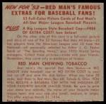 1953 Red Man #17 NL x Del Ennis  Back Thumbnail