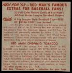 1953 Red Man #9 AL x Dale Mitchell  Back Thumbnail