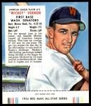 1954 Red Man #13 AL Mickey Vernon  Front Thumbnail