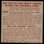 1953 Red Man #14 NL x Duke Snider  Back Thumbnail