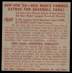 1953 Red Man #17 AL x Bob Lemon  Back Thumbnail