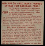 1953 Red Man #26 NL x Stan Musial  Back Thumbnail