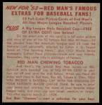 1953 Red Man #16 AL x Billy Pierce  Back Thumbnail