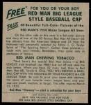 1954 Red Man #3 NL Del Crandall  Back Thumbnail