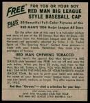 1954 Red Man #25 AL Gil McDougald  Back Thumbnail