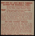1953 Red Man #11 NL x Robin Roberts  Back Thumbnail