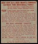 1953 Red Man #25 NL Bobby Thomson  Back Thumbnail