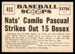 1961 Nu-Card Scoops #411   -   Camilo Pascual  Camilo Pascual Striles Out 15 Bosox Back Thumbnail