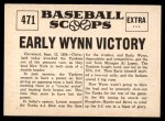 1961 Nu-Card Scoops #471   -   Early Wynn  Early Wynn Victory Crushes Yanks Back Thumbnail