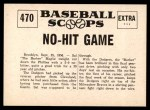 1961 Nu-Card Scoops #470   -   Sal Maglie  Sal Maglie Pitches No-Hit Game Back Thumbnail